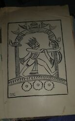 3 Old Vintage Paper Prints Of Paintings Of Sailoz Mukhrejea From India 1960