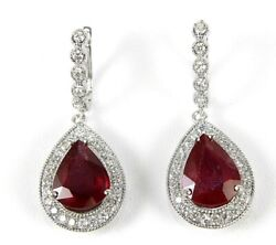 Natural Pear Shape Ruby And Diamond Halo Drop Earrings 14k White Gold 13.10ct