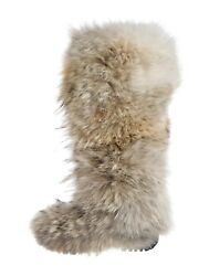 Collection Coyote Fur Round Toe Knee High Robber Sole Boots. 38.5