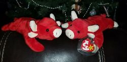 Ty Beanie Baby Lot Snort The Bull and Tobasco The Bull Very Rare 1995 edition