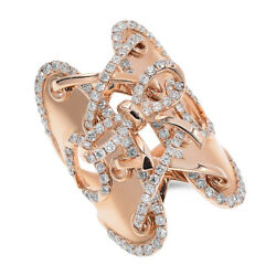 14k Rose Gold Pave Diamond Corset Bow Knot Tie Up Statement Cocktail Ring