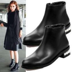 Womens Black Round Toe Ankle Boots Pearl Heel Zip Oxfords Vogue Boots Flats BT0
