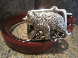 Rare Kieselstein-cord Sterling Grizzly Bear Buckle And Brown Leather Belt