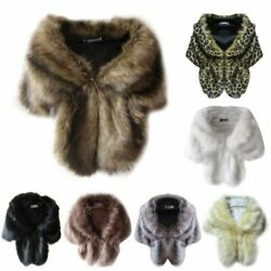 Womens Faux Mink Fur Shawl Shrug Wedding Warm Wrap Cape Bridal Party Coat Stole