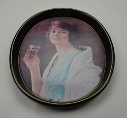 Coca Cola Metal Oval Advertising Tray Woman Holding Coke Vintage Collectible