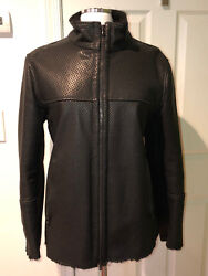 Nwt Drome Men's Italy Black Leather Mohair Lining Perforated Zip Jacket Coat L