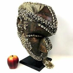 Authentic Kuba Bwoom Shell Copper Decorated African Mask