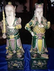 Pair Of Antique 18th C Chinese Kangxi Famille Verte Porcelain Immortal Figures