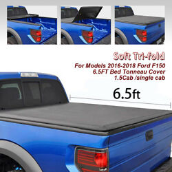SOFT TRI-FOLD 6.5' BED TONNEAU COVER 14-18 FOR FORD F150 REGULAR SUPERCREW CAB