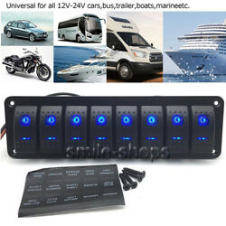 12-24V 8 Gang Dual Blue LED Rocker Switch Panel For RV Boat Yacht Car Marine
