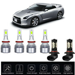 6PCS Ice Blue 8000K For Nissna Rogue 2014-18COB LED Headlight High Low Kit Bulbs