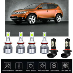 6PCS Ice Blue 8000K For Nissan Murano 15-18 COB LED Headlight High Low Kit Bulbs