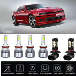 6PCS Ice Blue 8000K For Chevrolet Camaro 14-15 COB LED Headlight High Low Bulbs