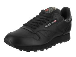 Reebok Classic Leather CL Black Red Fashion Mens Shoes Sneakers 116 All Sizes