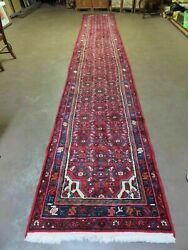 2and039 11 X 19and0395 Vintage Hand Made Turkish Wool Runner Rug Red Nice