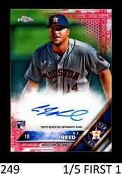 1-2016 Topps Chrome Rookie Auto Red Refractor A.j. Aj Reed Astros 1/5 First One