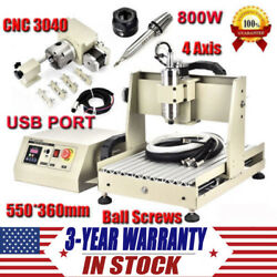 4 Axis CNC 3040 Router Engraver USB Port 800W Engraving Drilling Milling Machine
