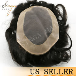 Durable Fine Mono Mens Toupee Hand Tied Human Hair System Hairpieces Replacement