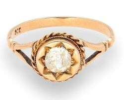 Antique 9carat Yellow Gold 0.62ct Diamond Old Cut Solitaire Ring Size Q 1/2