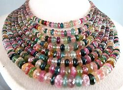 Natural Multi Colour Tourmaline 756 Cts Faceted Round Beads Gemstone Necklace