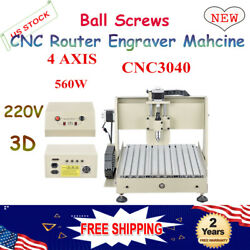 4-Axis CNC 3040T 560W  Router Engraver Engraving Machine Drill 3D Carving Cutter