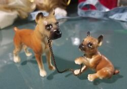 Adorable Vintage SET of 2 Bulldogs on Chain Miniature Marked Japan