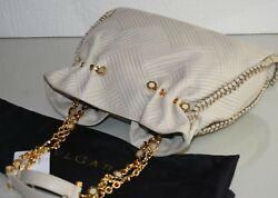 $3500 New Bvlgari TINA Quilted Nappa Ivory Leather Bag Gold Chain Mother o PEARL