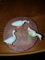 Vintage Lead Toy - Farm Animals - Duck / Goose Lot Of 3 3