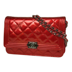 CHANEL Boy chain wallet other wallet patent leather for women leather
