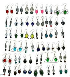 Turquoise And Mix Gemstone 925 Sterling Silver Overlay Earrings Wholesale Lot