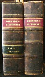 Johnsonand039s Dictionary Of The English Language 2 Volumes 1819 Old Leather Book