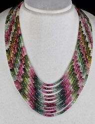 NATURAL MULTI COLOR TOURMALINE BEADS FACETED 10 L 495 CARATS GEMSTONE NECKLACE