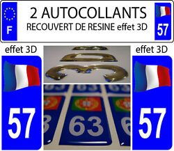 2 Stickers Car License Plate Doming 3d Resin France Floating Departure 57