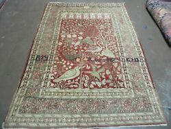 4' X 6' Antique Hand Made Turkish Tree Of Life Oriental Wool Rug Birds Red