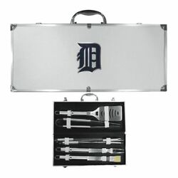Detroit Tigers 8 Piece Deluxe Stainless Steel Bbq Set W/ Case Mlb Licensed