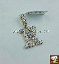 Real 10k Gold And Diamonds Letter N Initial Alphabet Charm/pendant 1.5 Inch.