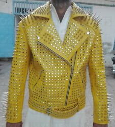 New Mens Punk Yellow Full Silver Long Spiked Studded Brando Biker Leather Jacket