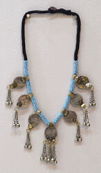 Necklace Middle East Blue Beaded Silver Kuchi Coin Necklace 30
