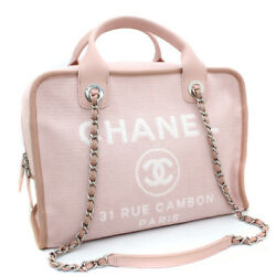 CHANEL A 92750 Chain Deauville 2 Way bowling Shoulder Bag canvasleather Women