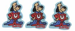 Underdog Figure Embroidered 3 1/2 Tall Set Of 3 Patches
