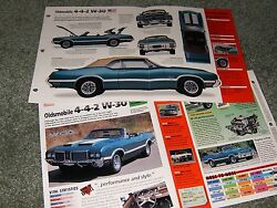 1972 Oldsmobile 442 W30 Spec Info Poster Brochure Pamphlet W-30 Convertible