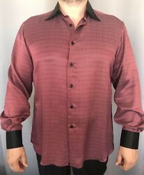 Stefano Ricci 100 Silk Red Black Dress Shirt Sz L, Authentic, Made In Italy