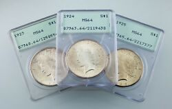 Lot Of 3 Pcgs Peace Dollars 1923-1925 Ogh Ms64 Great Lot