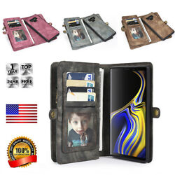 Removable Genuine Leather Wallet Flip Card Case Cover For Samsung Galaxy NOTE 9