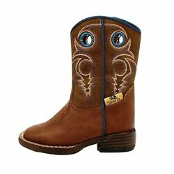 Double Barrel Boyand039s Dylan Blue Brown Leather Square Toe Cowboy Boots Nwt 441232