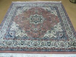 6' X 6' Vintage Hand Made India Oriental Wool Rug Rare Size Hand Knotted Nice