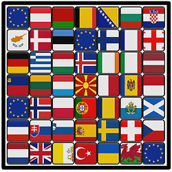 EUROPE FLAGS - SET OF NOVELTY FUN COASTERS - SETS OF 4 6 OR 8 - GIFTS  XMAS