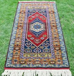 Vintage Yahyali Anatolian Carpet Handwoven Unique Natural Wool Antique Rug 4x7ft