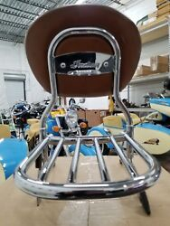 Indian Motorcycle Passenger Backrest With Tan Pad And Luggage Rack For Vintage