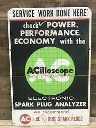 Ac Acilloscope Spark Plug Analizer Sign Gm Chevrolet Collectable Gas Oil